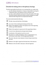 Checklist for taking notes at disciplinary hearings