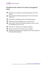 Checklist for the content of an absence management policy