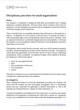 Disciplinary procedure for small organisations