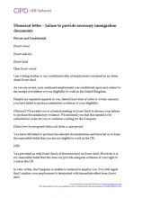 Dismissal letter - Failure to provide immigration documentation