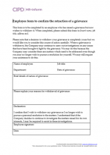 Employee form to confirm the retraction of a grievance