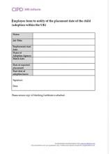 Employee form to notify of the placement date of the child (adoption within the UK)