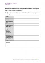 Employee form to request change to the start date of adoption leave (adoption within UK)