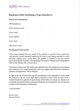 Employee letter declining a Tupe transfer in
