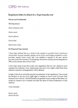 Employee letter to object to a Tupe transfer out