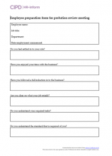 employee preparation form for probation review meeting