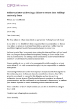 Follow up letter addressing a failure to return from holiday or maternity leave letter