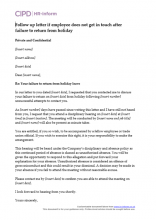 Holiday entitlement and pay hr inform follow up letter if employee does not get in touch after failure to return from holiday spiritdancerdesigns Gallery