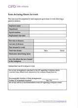 Form declaring fitness for work