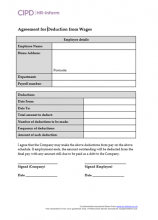 Form for an employee to agree to a deduction from wages