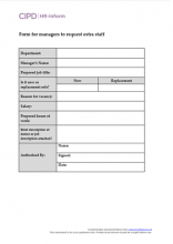 Form for line managers to request extra staff