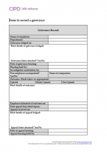 Form to record a grievance
