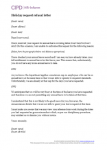 Holiday request refusal letter