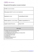 Example job description - accounts assistant