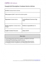 Example job description - customer service advisor