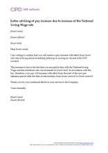 Letter advising of pay increase due to the increase in the National Living Wage