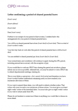 Letter confirming a period of shared parental leave