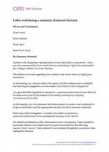 Letter confirming a summary dismissal decision