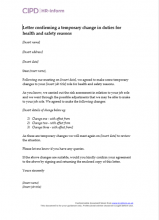 Letter confirming a temporary change in duties for health and safety reasons