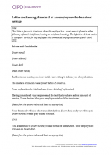Letter confirming dismissal of an employee who has short service