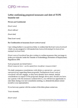 Letter confirming proposed measures and date of Tupe transfer out