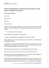 Letter confirming that an employee has been given a formal verbal warning for misconduct
