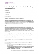 Letter confirming the outcome of a meeting to discuss long-term sickness absence