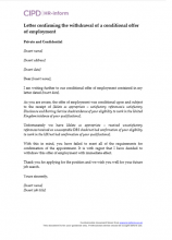 Letter confirming the withdrawal of a conditional offer of employment