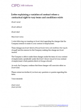 Letter explaining a variation of contract where a contractual right to vary terms and conditions exists