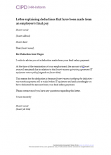 Letter explaining deductions that have been made from the final pay of an employee