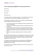 Letter explaining ineligibility for shared parental leave