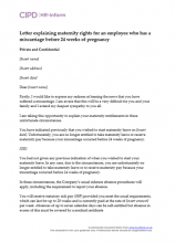 Letter explaining the maternity rights to an employee who has suffered a miscarriage before 24 weeks of pregnancy