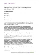 Letter explaining the maternity rights to an employee whose baby dies after birth