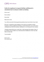 Holiday entitlement and pay hr inform letter for employee to request holiday entitlement is reinstated due to sickness whilst on holiday spiritdancerdesigns Images