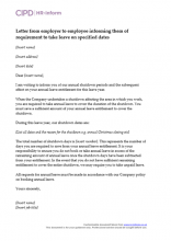 Letter from employer to employee informing them of requirement to take leave on specified dates
