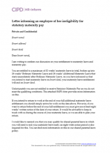 Letter informing an employee of her ineligibility for statutory maternity pay