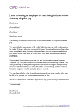 Letter informing an employee of their ineligibility to receive statutory adoption pay