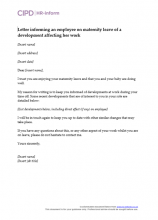 Letter informing an employee on maternity leave of a development affecting her work