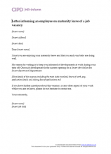 Letter Informing An Employee On Maternity Leave Of A Job Vacancy