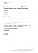 Letter informing an unsuccessful candidate that their application will be kept on file for future vacancies