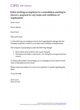 Letter inviting an employee to a consultation meeting to discuss proposal to vary terms and conditions of employment