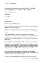 Letter inviting an employee to an investigatory meeting regarding a grievance raised by another employee