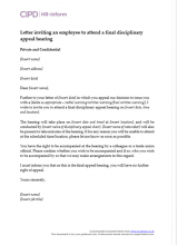 Letter inviting an employee to attend a final disciplinary appeal hearing