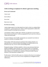 Letter inviting an employee to attend a grievance meeting