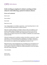 Letter inviting an employee to attend a meeting on their return to work following a period of sickness absence