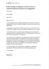 Letter inviting an employee to meet to discuss a potential dismissal and offer of re-engagement