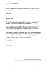 Letter inviting employee to probationary period review meeting