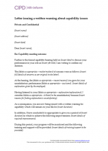 Letter issuing a written warning about capability issues