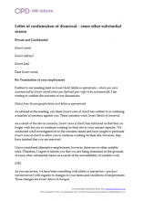 Letter of confirmation of dismissal - some other substantial reason