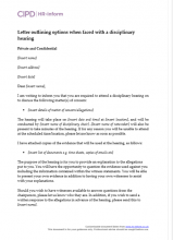 Letter outlining options when faced with a disciplinary hearing